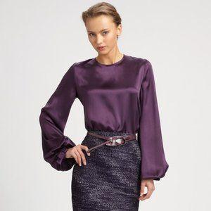 Carolina Herrera Purple Silk Charmeuse Bow Blouse